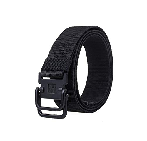 Military Tactical Men Belt Stretchy Belt 35'-64' Waist Big Men Plus Size Double Ring Breathable Nylon Fabric Belts (52'-55' Waist, Black)