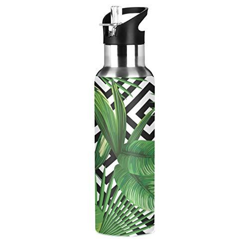 BGIFT Botella de agua geométrica con hojas de palma tropicales con tapa de pajita, aislada al vacío, taza termo de acero inoxidable, botella de agua de 20 onzas para deporte, bicicleta, fitness, send