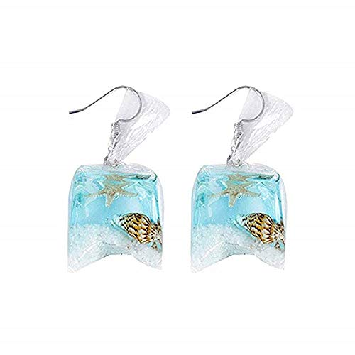 Iwinna Starfish Dangle Earrings for Women & Girls Funny Water Bag Shape Dangle Hook Resin Conch Earrings Charm Jewelry 1 Pairs (Blue)