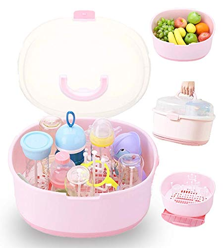 Baby Bottle Drying Rack Storage Pump Protect from Bugs Dust Portable Kitchen Cabinet Organizer Pink