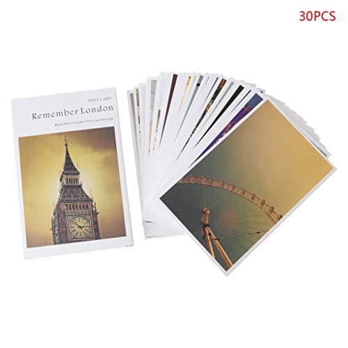 Carry stone 30 Blätter London Gemälde Retro Vintage Postkarte Weihnachtsgeschenkkarte Wunsch Poster Karten