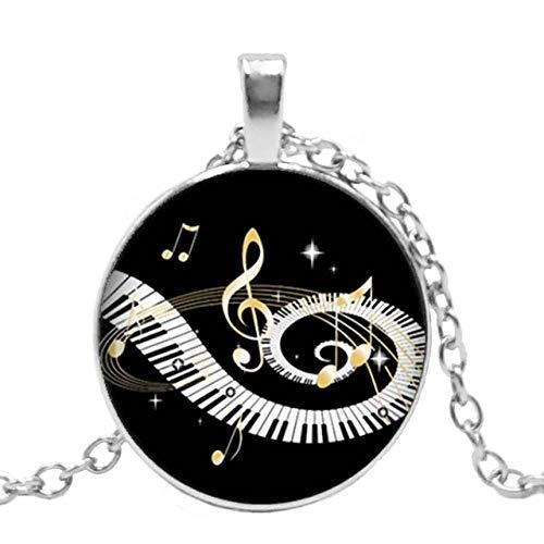 XCWXM Kette Damen Herzförmiger Piano Love Pattern Anhänger Runde Konvexe Glastastatur Aus Glas Glaskuppel 1 Bronze Null