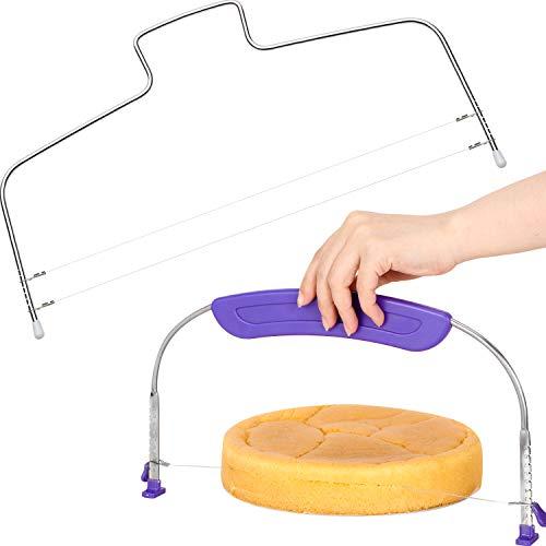 2 Stücke Tortenschneider mit gezahntem Schneidedraht Verstellbarer Kuchenschneider Edelstahl Tortenbodenteiler