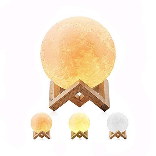 Lampe de Lune 3D, télécommande et Commandes tactiles, veilleuse décorative pour la Maison Rechargeable pour Cadeau créatif et pour Anniversaire de Noël (16 Couleurs)