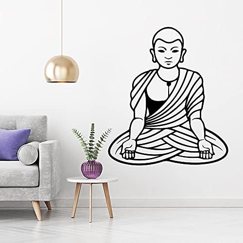 Bonita estatua de Buda, pegatina de pared para habitación de niños, calcomanía artística de vinilo, calcomanía de pared decorativa extraíble para habitación de niños -77.4x88.2cm