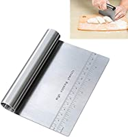 Pro Dough Pastry Scraper/Cutter / Chopper Stainless Steel Mirror Polished Good Grips with Measuring Scale Multipurpose-...