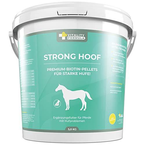 Flex Strong Hoof 5 kg Cubo Premium Complemento alimenticio para caballos Biotina de pellets con zinc, cobre y vitaminas para suplemento alimenticio ✔ para problemas de carrera