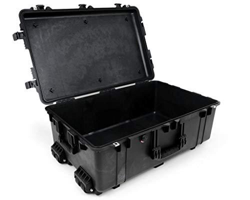 PELI 1650 Stoßfestes Schutzkoffer Case für Foto and Drohnen Equipment, IP67 Wasser- und Staubdicht, 86L Volumen, Hergestellt in Deutschland, Ohne Schaum, Schwarz