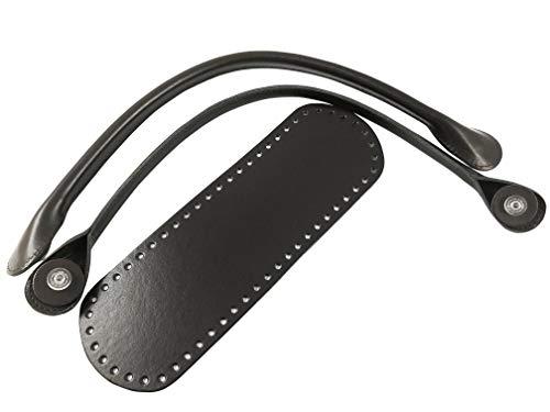 Kit para bolsos de ganchillo (fondo + asas con anillo) de piel sintética (Moro Bag atornillable - 06)