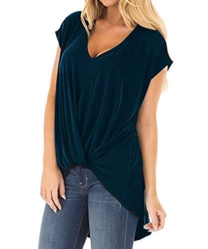 DEMO SHOW Damen Tunika Tops Kurzarm V Ausschnitt Geknotete Vorderseite Niedrig Unregelmäßiges Bluse T Shirt (Navy blau, 2XL)