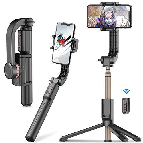 Gimbal Stabilisator, Anti-Shake Stabilizer 360° Panorama, erweiterbarer Bluetooth Selfie Stick/Stativ mit Fernbedienung, Faltbar Uns Kabelloser Monopod für Smartphone