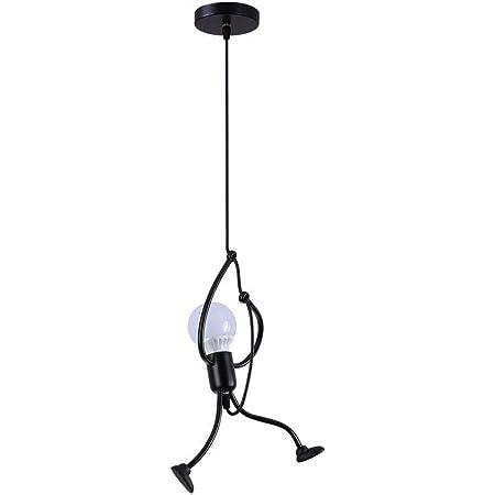d.Stil Suspension luminaire E27 En Fer Lampe créative Design de Bande Dessinée Lustre Moderne Pendentif pour Enfants Chambre (Noir, 1pcs)
