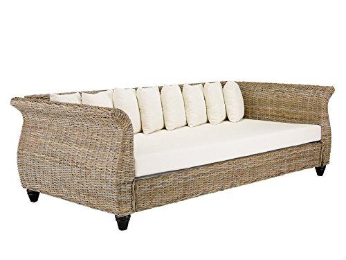 massivum Schlaf-Sofa Lunga 230x75x110 cm aus Kubu-Rattan grau lackiert mit Kissen Liegefläche 90x200 cm