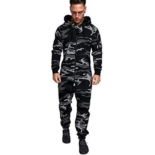 SUCCESS Herren Overall Jumpsuit Jogging Cargo-Style Onesie Trainingsanzug Hoodies Pyjama Camouflage Sportanzug mit Reißverschluss für Herbst und Winter (L, Grau)
