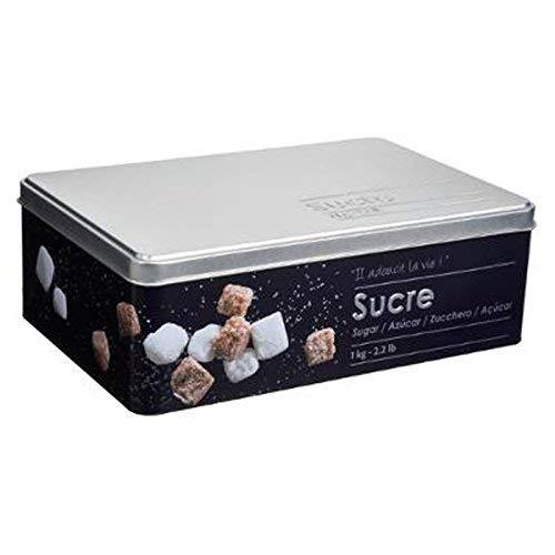 Boite alimentaire - Relief II - morceaux de sucre - 20.2 x 13.2 x 6.7 cm - Fer et étain - Noir