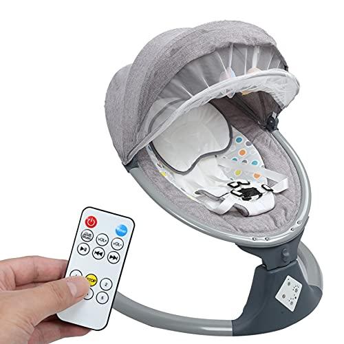 Ejoyous Columpio Eléctrico para Bebés Desde El Nacimiento hasta Los 10 Kg, Hamaca con Vibración Y Música Se Puede Conectar A La Reproducción De Bluetooth O USB, Hamaca para Niños con Función(EU)