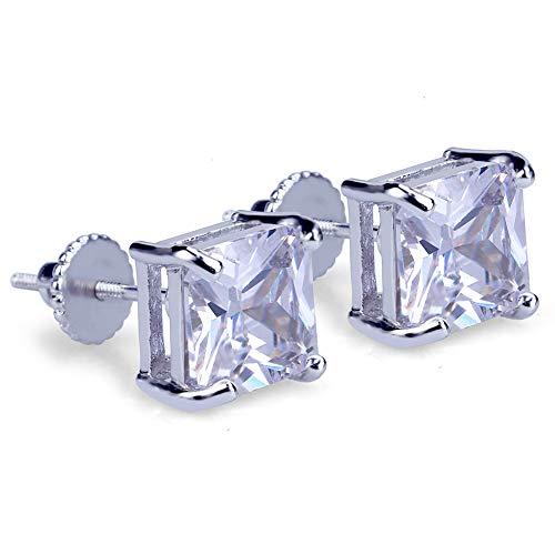 Hip-hop - Pendientes de circonita cuadrada para hombre y mujer, joyería de cristal y amor de moda, pendientes de regalo de cumpleaños (oro, plata), pendientes de tuerca, 123, plata, Size