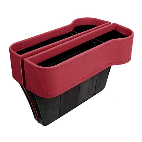 VVHOOY 2 Pack Car Seat Gap Filler with Cup Holder Organizer,PU Leather Seat Console Organizer Pocket, Car Seat Catcher Between Seats Organizer Side Drop Caddy Catcher,Car Interior Accessories (Red)