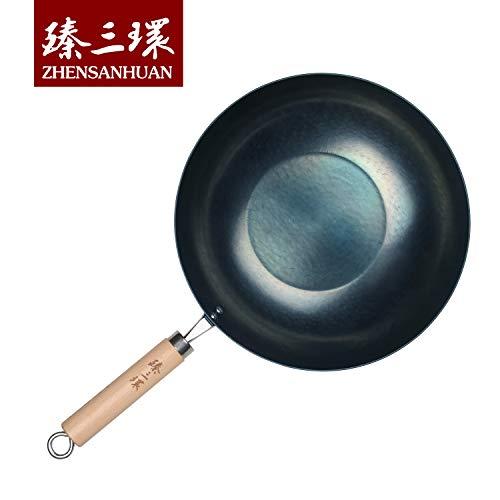 ZhenSanHuan HandHammered Iron Wok Flat Bottom Induction Suitable WoodHandle