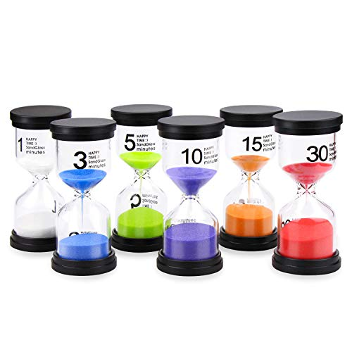Sand Timers, Mosskic Hourglass Timer 1/3/5/10/15/30 Minutes Sandglass Timer for Kids Games Classroom Kitchen Home Office Decoration(Pack of 6) (Multicolor)