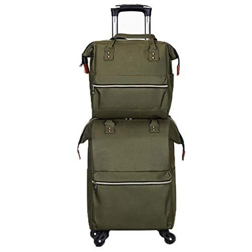 Maleta de Tela Oxford para Equipaje Maleta de Nailon Bolsa de Viaje Paquete de Rueda Universal Bale 2Pce / Set Set of Army Green