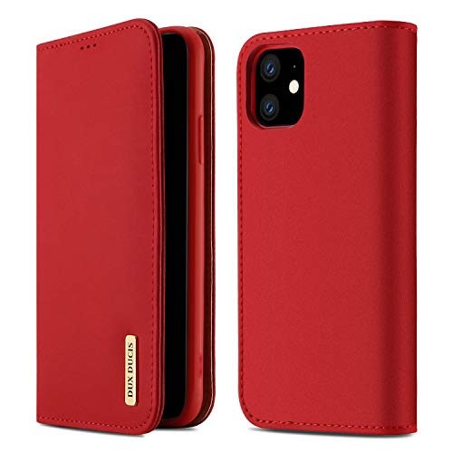 【WISH Series 高級牛革】iPhone 11 ケース 手帳型 本革 アイフォン 11 カバー 全面保護 磁石付き カード入れ スタンド機能 耐衝撃 耐摩擦 人気 おしゃれ ギフトボックス付き ワイヤレス充電に対応(iPhone 11 レッド)