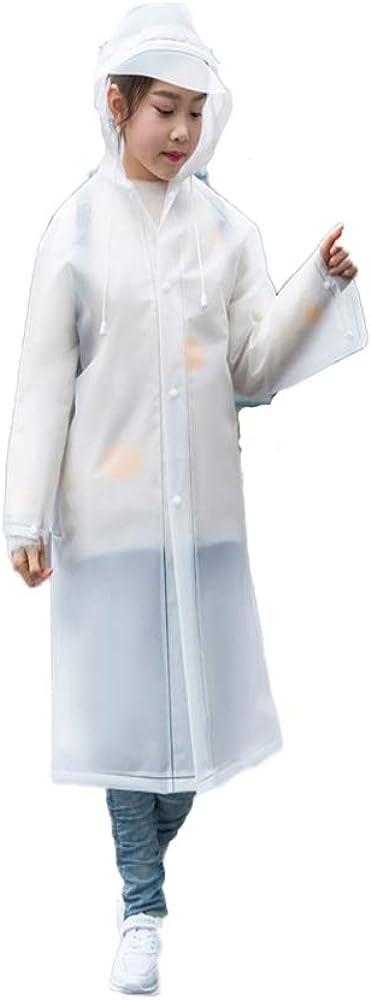 SUNGFINE Raincoat for Kids,EVA Kids Rain Coat Reusable Rain Poncho Jacket Boys and Girls 4-10 Years Old