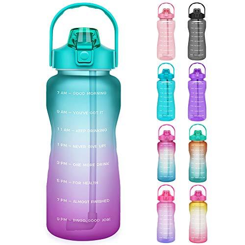 Opard Trinkflasche, BPA Frei Wasserflasche mit Strohhalm, 1-klick Verschluss Auslaufsichere Water Bottle, Zeitmarkierung Sportflasche (Cyan Lila)