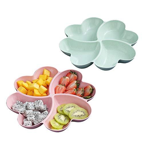Herzförmige Obstplatte Kreative Teller Aufbewahrungsbox Kreative Snack-Aufbewahrungsbox Stark und langlebig schönes Aussehen leicht zu reinigen praktische Nussschale für Snacks Nüsse Desserts 2 Stück