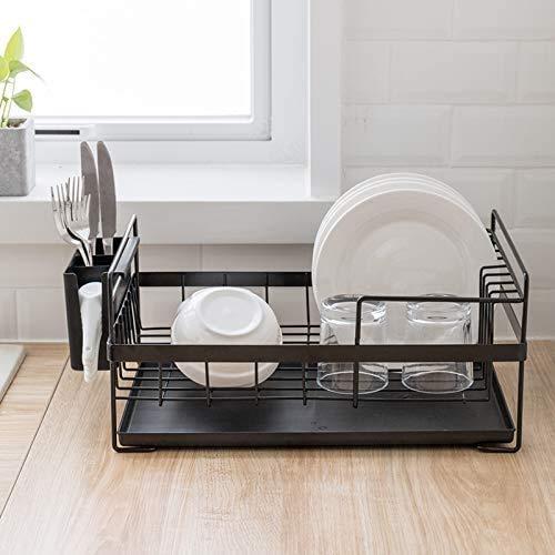 LINFIDITE Kitchen Sink Dish Drainer Rack Detachable Drying Rack Dishes Dish Drying Rack with Drip Tray Utensil Holder Countertop Anti Rust Draining Board Rack Organiser Set 3 Piece 48×29.5×19cms Black