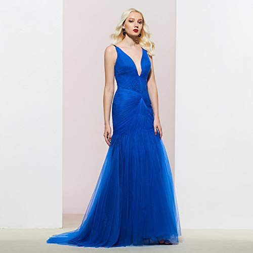 BINGQZ Party Jurk/blauw avondjurk v hals plooien mouwloos zeemeermin vloer lengte bruiloft partij formele jurk avondjurken