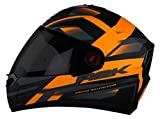 Steelbird SBA-1 R2K Full Face Graphics Helmet in Matt Finish with Smoke Visor (Large 600 MM, Matt Black with Orange)
