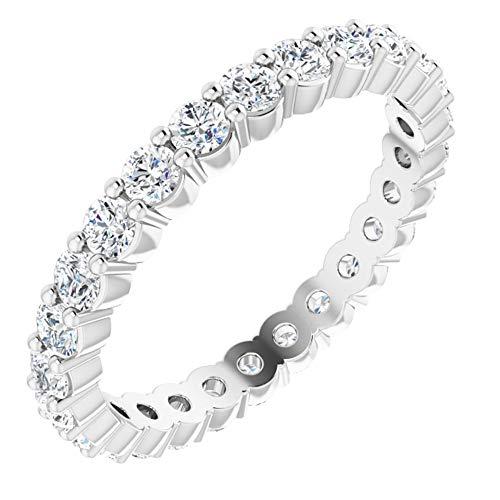 14k White Gold Diamond Eternity Bridal Wedding Band Ring (3/4 cttw), Size 47 3/4