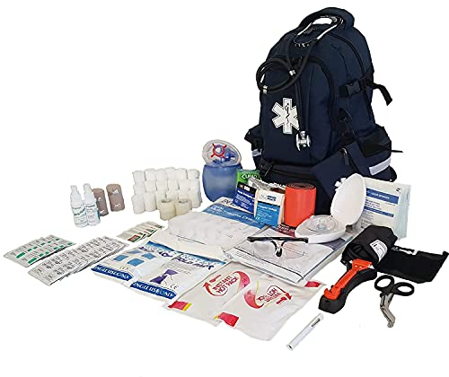 LINE2design First Aid Tactical Bag Kit - EMT Emergency First Responder Rescue Tactical Carry Fully Stocked Large Medical Supplies Medical Backpack Trauma Kit - Paramedic EMS Bags - Navy Blue
