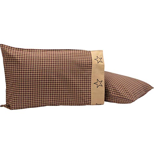 VHC Brands Americana Primitive Bedding-Patriotic Patch Pillow Case Set, Standard, Deep Red