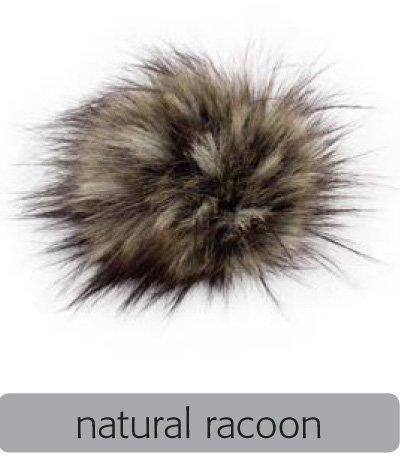 Fell Pompon mit Druckknopf (keinTierfell) - natural racoon - Durchmesser 10cm - für individuelle Designs!