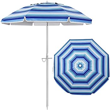 Clispeed Stripe Beach Umbrella with Sand Anchor Aluminum Pole