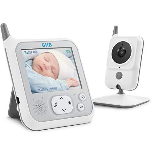 GHB Baby Monitor Videocamera Schermo LCD da 3,2 Pollici 1150mAh Batteria Citofono Bidirezionale Fuzione VOX Luce Nottura 8 Ninna Nanne per Bambini