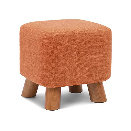 GXT Taburete de madera maciza para zapatos de banco de moda, taburete cuadrado creativo, taburete de tela, taburete de sofá, mesa de café, taburete de casa, taburete pequeño (color: naranja)