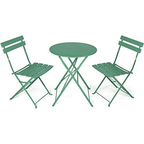 GT-LYD Conjunto De Muebles De Balcón 3 Piezas, Pequeño Y Plegable, Resistente A La Intemperie, Resistente Al Agua, Metal, para Balcón, Jardín, Terraza (Consta De 1 X Mesa Redonda Y 2 X Sillas)