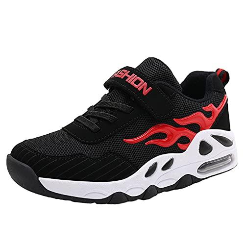 Niños Entrenadores Niños Zapatos De Baloncesto Ligero Transpirable Autoadhesivo Adolescente Zapatillas De Deporte Al Aire Libre,Rojo,37 EU