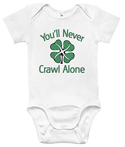 Rapunzie Celtic FC You'll Never Crawl Alone Baby Bodysuit Cute Infant Baby Clothes (3-6 Months, White)