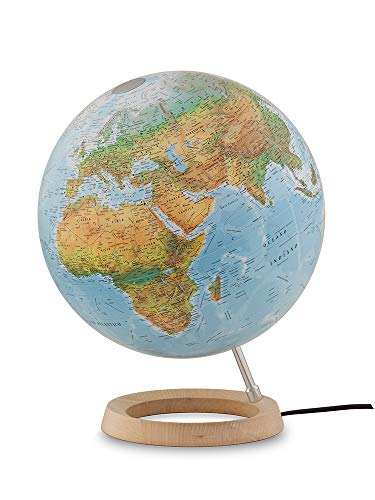 Tecnodidattica – Mappamondo Atmosphere FC2, girevole, luminoso, base in legno d'Acero, cartografia Fisico/Politica,...