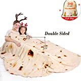 mermaker Burritos Tortilla Blanket 2.0 Double Sided 71 inches for Adult and Kids, Giant Funny Realistic Food Throw Blanket, 280 GSM Novelty Soft Flannel Taco Blanket (Yellow Blanket-4)