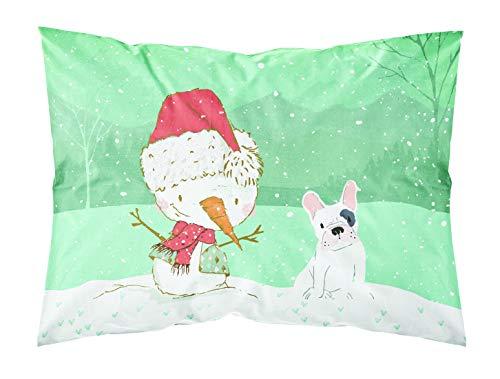 Caroline's Treasures Snowman Piebald French Bulldog Christmas Fabric Standard Pillowcase