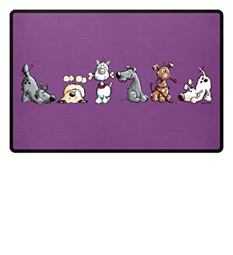 Shirtee Lustiges Happy Hunde Hundemotiv für Hundehalter und Hundefreunde I Hunde Design Geschenk - Fußmatte -60x40cm-Purple