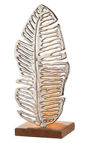 GILDE Lampe Leaf - Tischlampe aus Aluminium mit einem Holz-Fuß H 53,5 cm