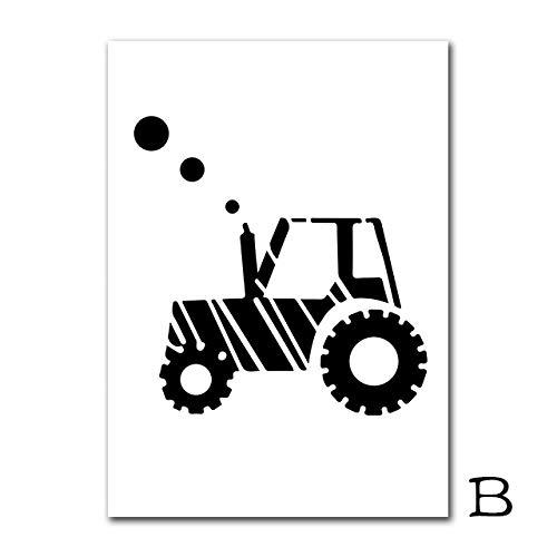 TTJX Cartel nórdico Carteles e Impresiones de automóviles Planos Niños Carteles de Lienzo Pintura Infantil Láminas de Pared para decoración de la habitación del bebé 50X70cm Sin Marco B
