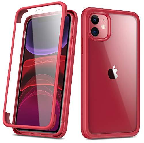 RuiPower Kompatibel mit iPhone 11 Hülle 6.1'' Glas Panzerglasfolie Transparent Handyhülle und Rückseite Panzerglas Back Cover 360 Grad Full Body Case Schutzhülle mit Silikon Bumper - Rot