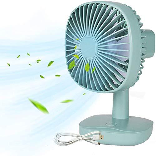 PEARFALL mini ventilador Escritorio El ventilador USB puede cargar 1200 mAh Botones ajustables Silencio Portátil Girar 360 grados automáticamente Adecuado para el hogar, la oficina y el exterior.